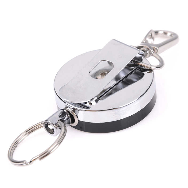 1PCS Stainless Steel Retractable Resilience Steel Wire Rope Elastic Casual Badge Reel Retractable Key Ring ID Card Holder Clips