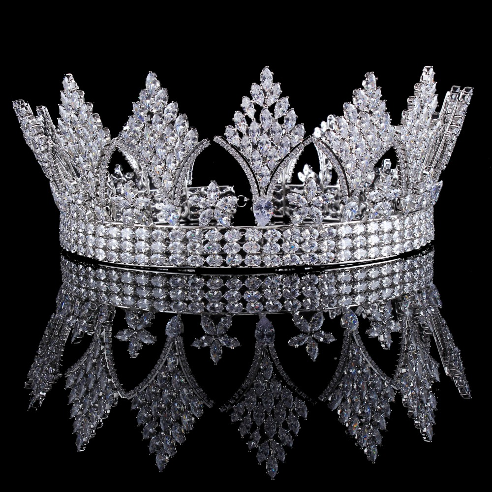 Silver Clear Crystal Cubic Zircon Bridal Tiara Crown Rhinestone Pageant Prom Crown Wedding Hair Accessories Bride Headband girl crown crystal barrettes hair accessories shiny rhinestone crystal crown bridal wedding tiara flower child hair ornament