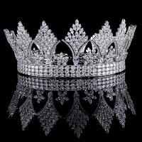 Silver Clear Crystal Cubic Zircon Bridal Tiara Crown Rhinestone Pageant Prom Crown Wedding Hair Accessories Bride Headband