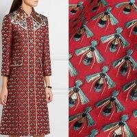 Red bottom little bee jacquard brocade plush fabric for dress coat tissu au meter shabby chic cheap fabrics DIY telas tissus