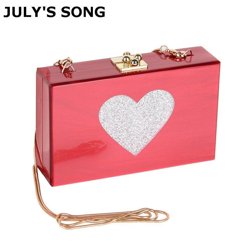 все цены на JULY'S SONG New Heart Evening Bags Fashion Acrylic Box Women Hard Handbag Shoulder Bag Ladies Elegant Clutch Bag Crossbody Purse онлайн