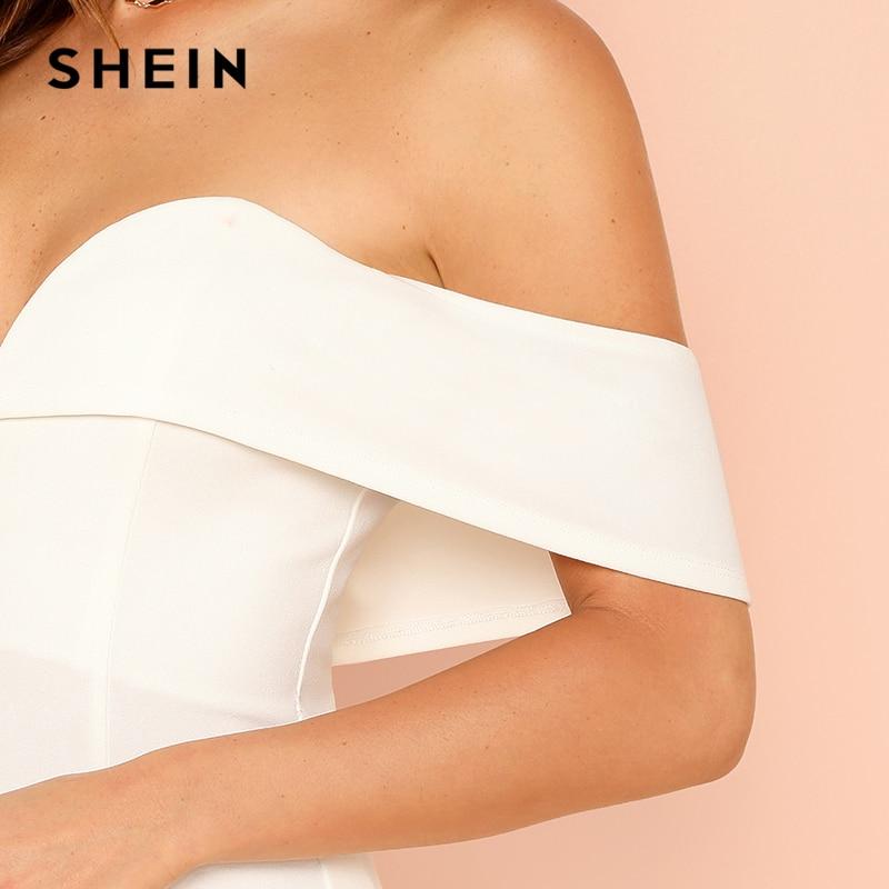 SHEIN White Deep V Neck Front Bardot Bodysuit Sexy Party Off Shoulder Skinny Bodysuits Women Plain Mid Waist Summer Bodysuit