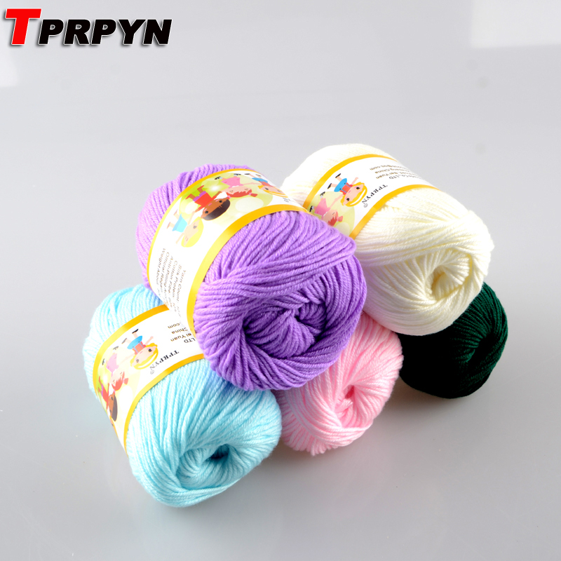 TPRPYN 500g=10Pcs  Multi Color Cotton Silk Knitting Yarn Soft Warm Baby Yarn For Hand Knitting Supplies NL1131