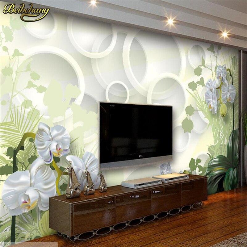 Beibehang Orchidee Blumen Individuelle Fototapeten 3D Floral TV Hintergrund Einfache Romantische Wohnzimmer Schlafzimmer Wandbild Kontakt Papier