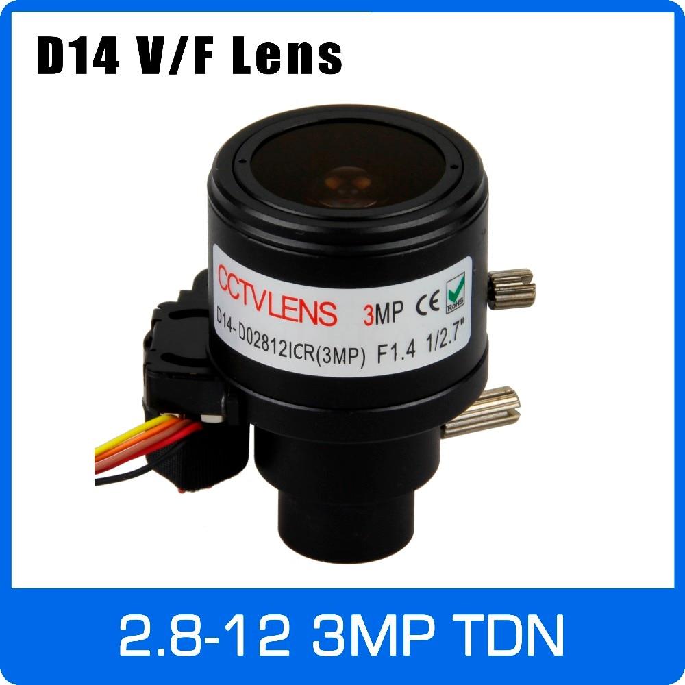 3-мегапиксельная вариофокальный Объективы для видеонаблюдения 2,8-12 мм D14 Mount 1/2. 7 дюймов с IR-CUT и DC-IRIS для 720 P/1080 P IP/AHD cctv Камера