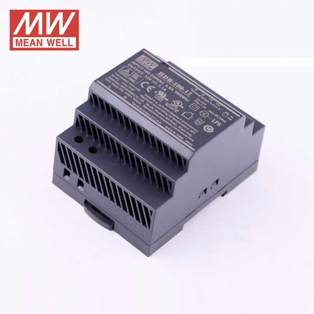 Original MEAN WELL HDR-100-24N 4.2A 24V 100.8W meanwell Ultra slim step shape DIN Rail Power Supply DC output adjustable original mean well hdr 100 24 3 83a 24v 92w meanwell ultra slim step shape din rail power supply dc output adjustable
