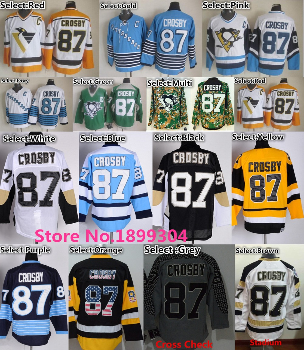 ac31c7cb9 87 Black NHL Jersey Pittsburgh Penguins 87 Sidney Crosby Jersey Throwback  CCM Blue Yellow Black Camo Cross Check Grey .