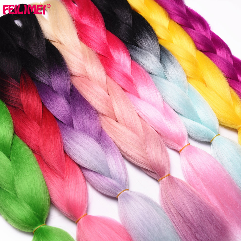 Hair Extensions & Wigs Feilimei Ombre Blonde Colored Crochet Hair Extension Kanekalon Hair Synthetic Crochet Braids Ombre Jumbo Braiding Hair Bundles