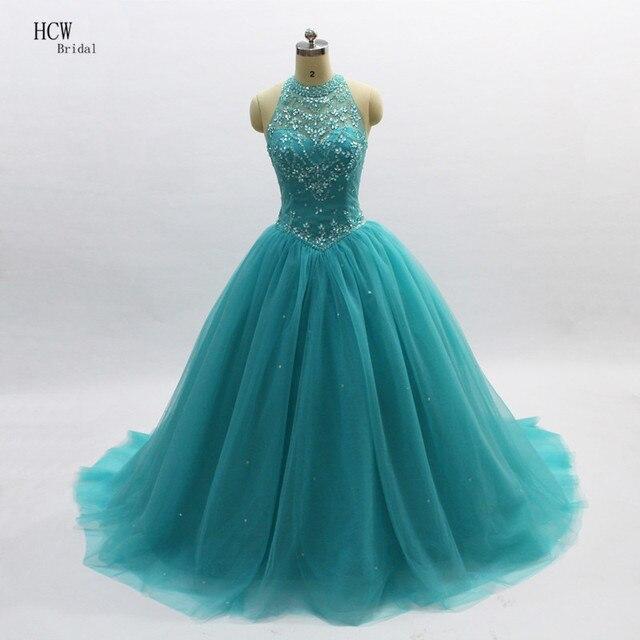 916ab0b606b49 Kraliyet Prenses Quinceanera elbise 2019 Yüksek Boyun Aç Geri Boncuklu  Kristal Tül Tatlı 16 Kız Quinceanera