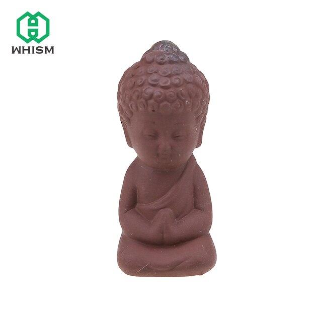 WHISM Purple Clay Buddha Statues Little Buddhism Monk Small Figurines Miniature Mini Chinese Buddhism Zen Monks Garden Ornament