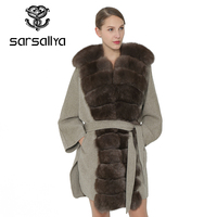 SARSALLYA Women Coat Slim Winter Warm Fashion Coat Ladies Fox Fur Collar Self Belt Women Clothing Jacket Overcoat