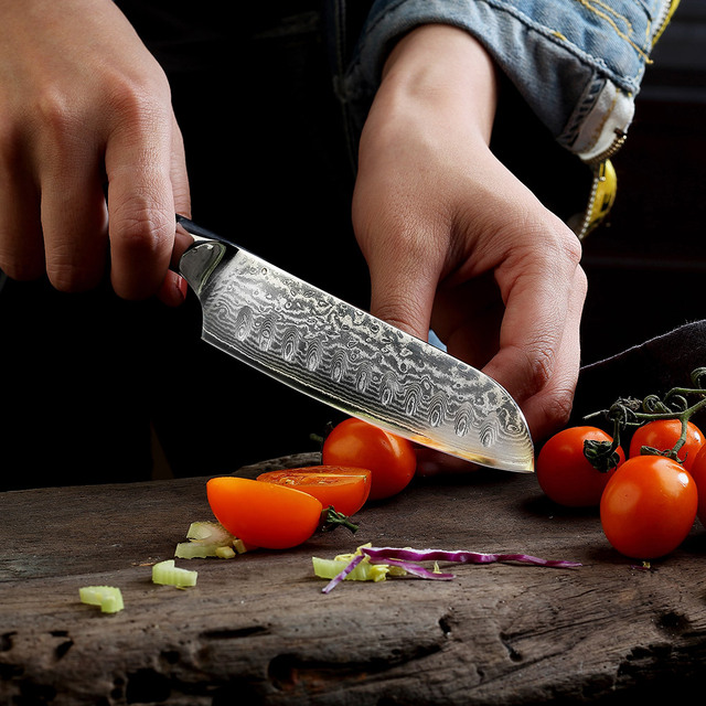 Sunnecko 5″/7″ Santoku Chef Knife Kitchen Knives Japanese Damascus VG10 Steel Razor Sharp Blade Meat Cutting Tools G10 Handle