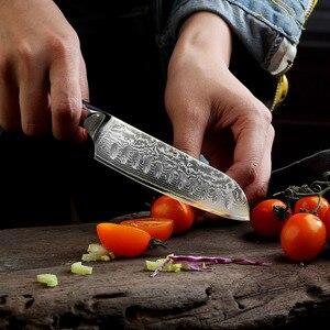 "Image 2 - Sunnico 5 ""/7"" Santoku سكين الطاهي سكاكين المطبخ اليابانية دمشق VG10 الصلب الحلاقة شفرة حادة اللحوم قطع أدوات G10 مقبض"