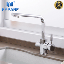 FYPARF Filter Kitchen Faucet Taps Brass Deck Mounted 360 Rotation Swivel Sink Faucet with Filtered Water Tap Crane For Kitchen xoxo filter kitchen faucet drinking water blcak deck mounted mixer tap 360 rotation brass pure filter kitchen sinks taps 81028