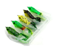 New 5pcs Soft Plastic Frog Lure Snakehead With Box Topwater Lure Pesca Isca Artificial Fishing Tackle 6cm 12g Black Fish Killer