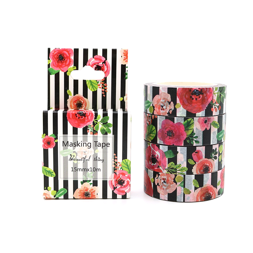 Box Package Flower And Stripe Washi Tape Excellent Quality Colorful Paper Masking Tape DIY Decorative Tapes 10m*15mm