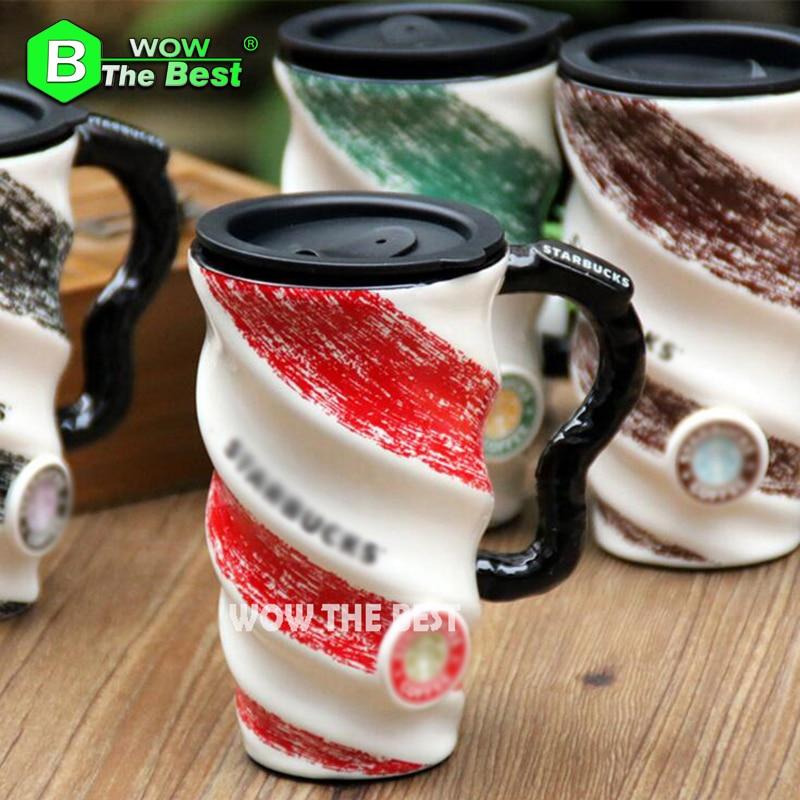 500ml Creative Revolving Ceramic Mug Hand Painted Porcelain Mugs Coffee mug with Lid Pottery Modern Milk