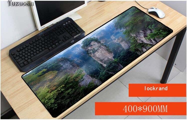Yuzuoan горы деревья 900x400X3 мм длительных игровых коврик для мыши большой замок ноутбук края Мышь колодки большой Размеры стол коврик для LOL DOTA