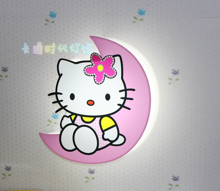 Led Modern Wall Lamps Children Baby Kids Bedroom Bedside Lamp Cartoon Hello Kitty Shape 90 260v Originality Novelty Light In Indoor From