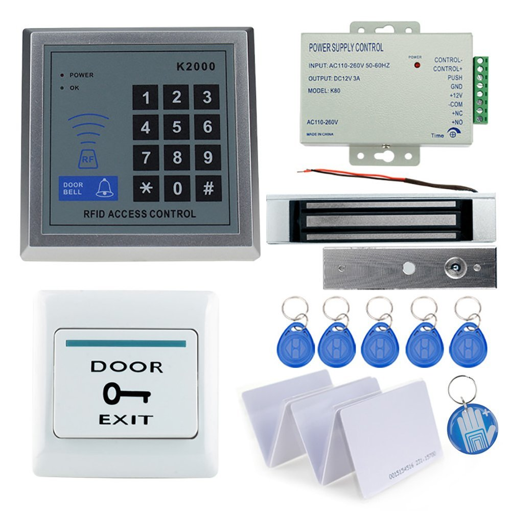 OBO HANDS Full Rfid Door Lock Access Control Keypad Kit +Electric Magnetic Lock+Power Aupply+Exit Button +5 cards+ 5 keyfobs + E hot selling full complete rfid door lock access control system power supply electric magnetic lock door exit button bell keys