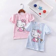 2018 summer new girls short sleeved animal T-shirt cartoon printed stripes KT cat cotton round collar