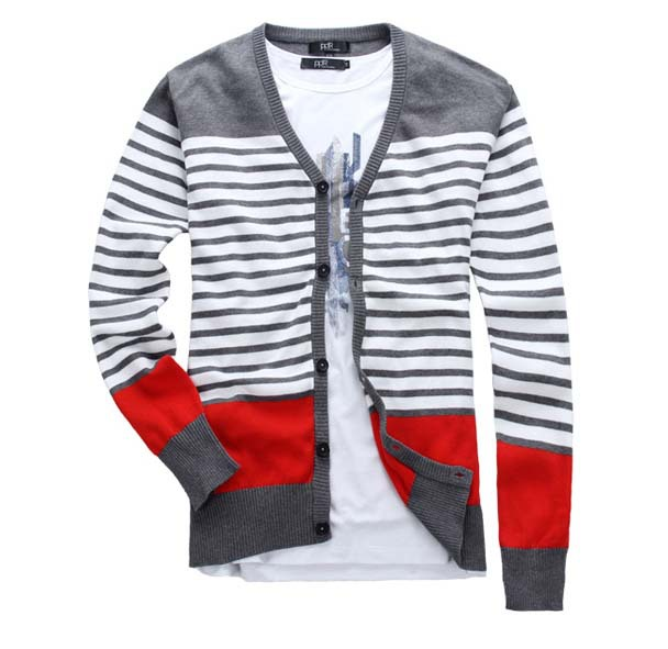 Super Large Size Fashion Men Cardigan Striped Design V Neck Cotton ...