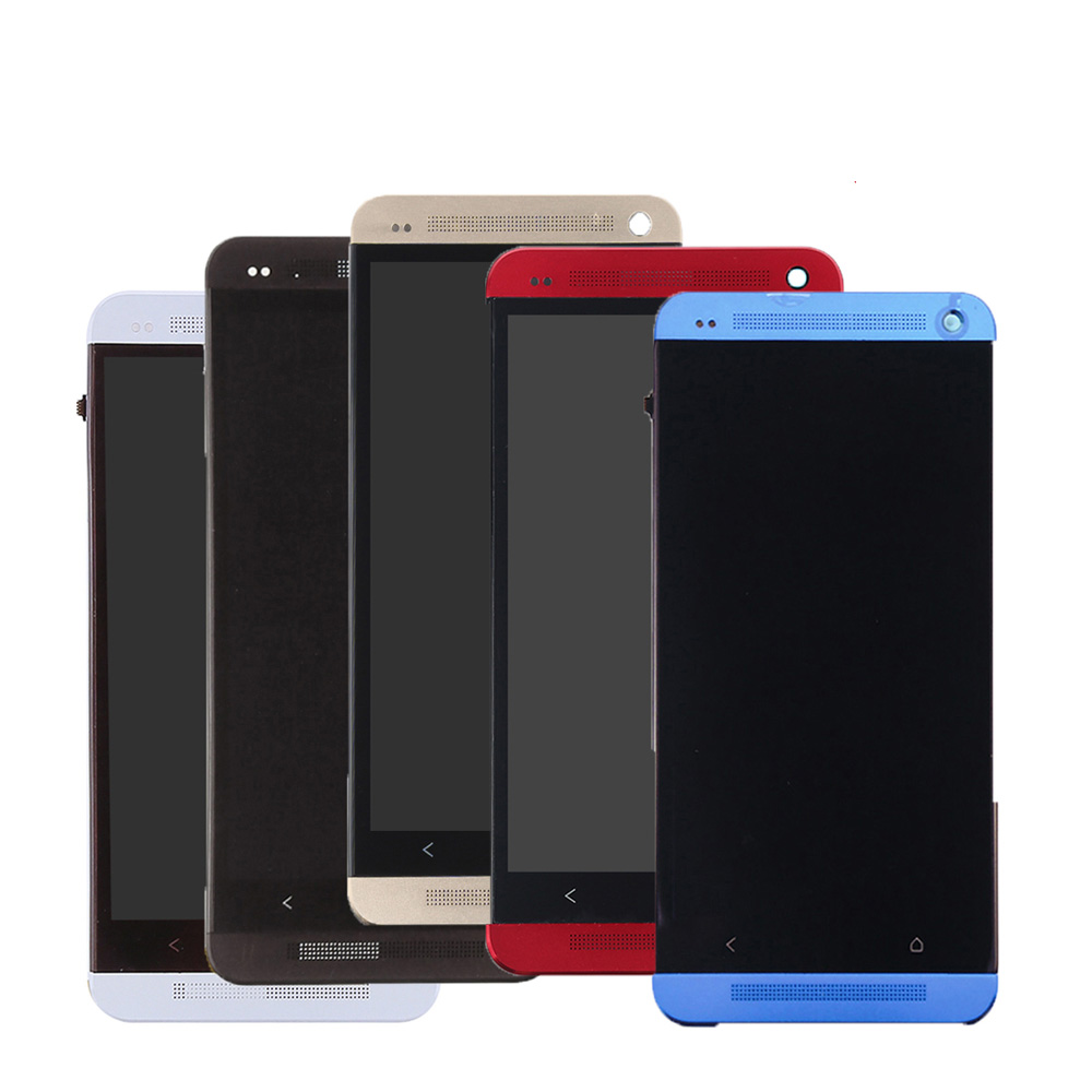 Tested-5-Colors-For-HTC-ONE-M7-LCD-Display-Touch-Screen-Digitizer-Bezel-Frame-Full-Assembly