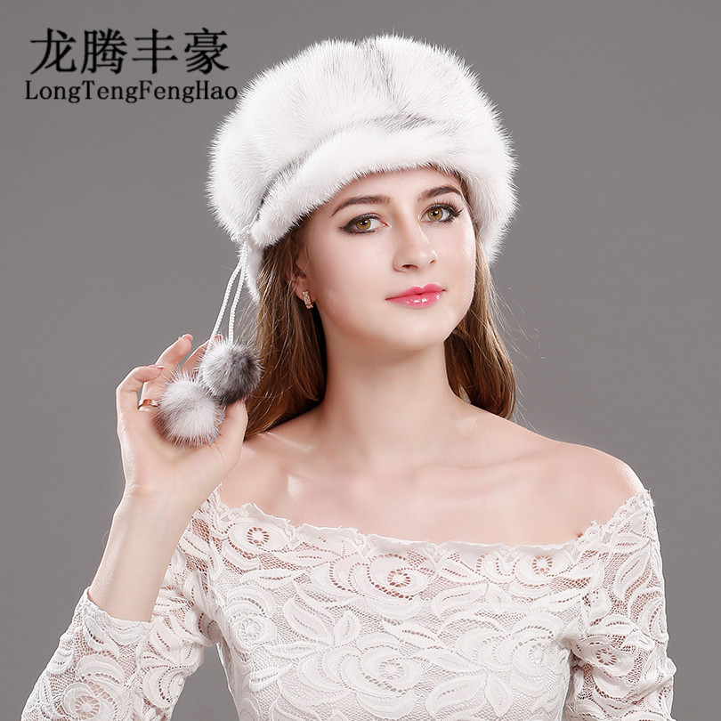 Mink hat Real Fur  the whole skin hat Women High Qualitity 100% Genuine Knitted fur mink cap with fullfur fashion elegant Ladies bodies the whole blood pumping story