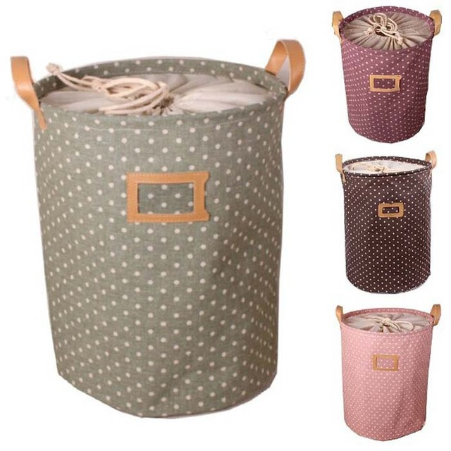 High Quality ! 3 Sizes S /M/ L Zakka Handle Stackable Dots Linen / canvas Storage Buckets Laundry Bags Pink/ Brown/ Green/Purple