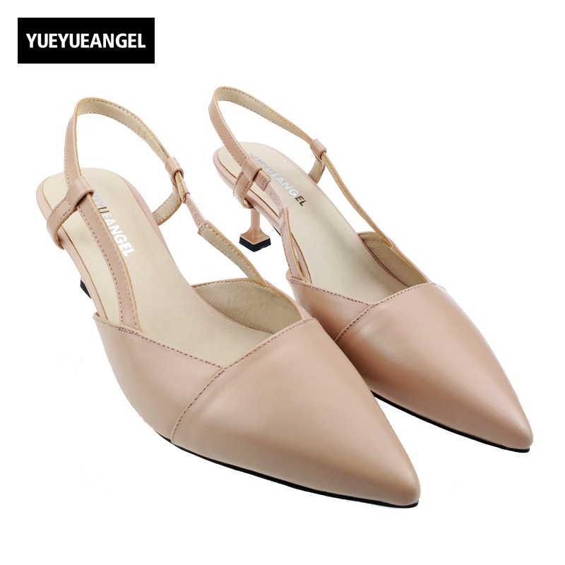 Hot Sale Spring Elegant Ladies Pointed Toe High Heels Black Color Party Shoes Woman Slip On Real Leather Sandals Shoes Female hot sale 2016 new fashion spring women flats black shoes ladies pointed toe slip on flat women s shoes size 33 43