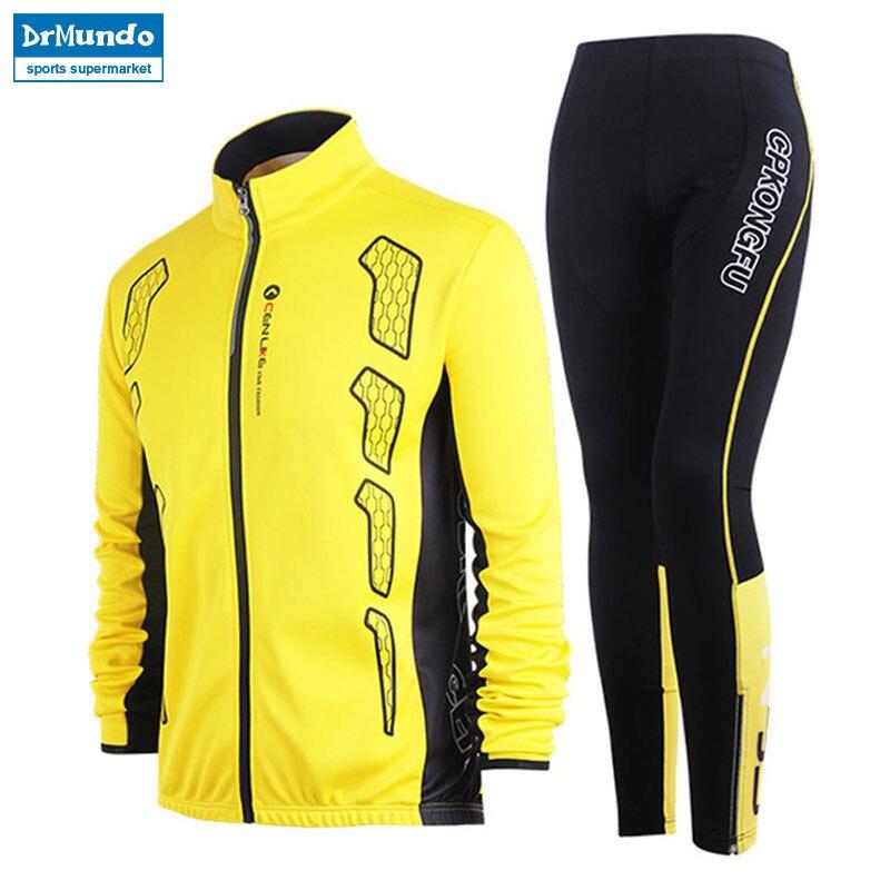 Hiver hommes veste de course en plein air costumes de cyclisme à manches longues veste + collants pantalons Sport porter des ensembles