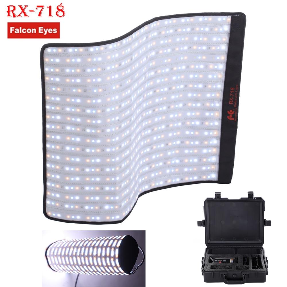 Falconeye Rouleau-Flex Série RX-718 100 W RGB 2700-9999 K Portable LED Photo Lumière avec DMX 648 pcs Flexible Photographie Boîte De Sécurité