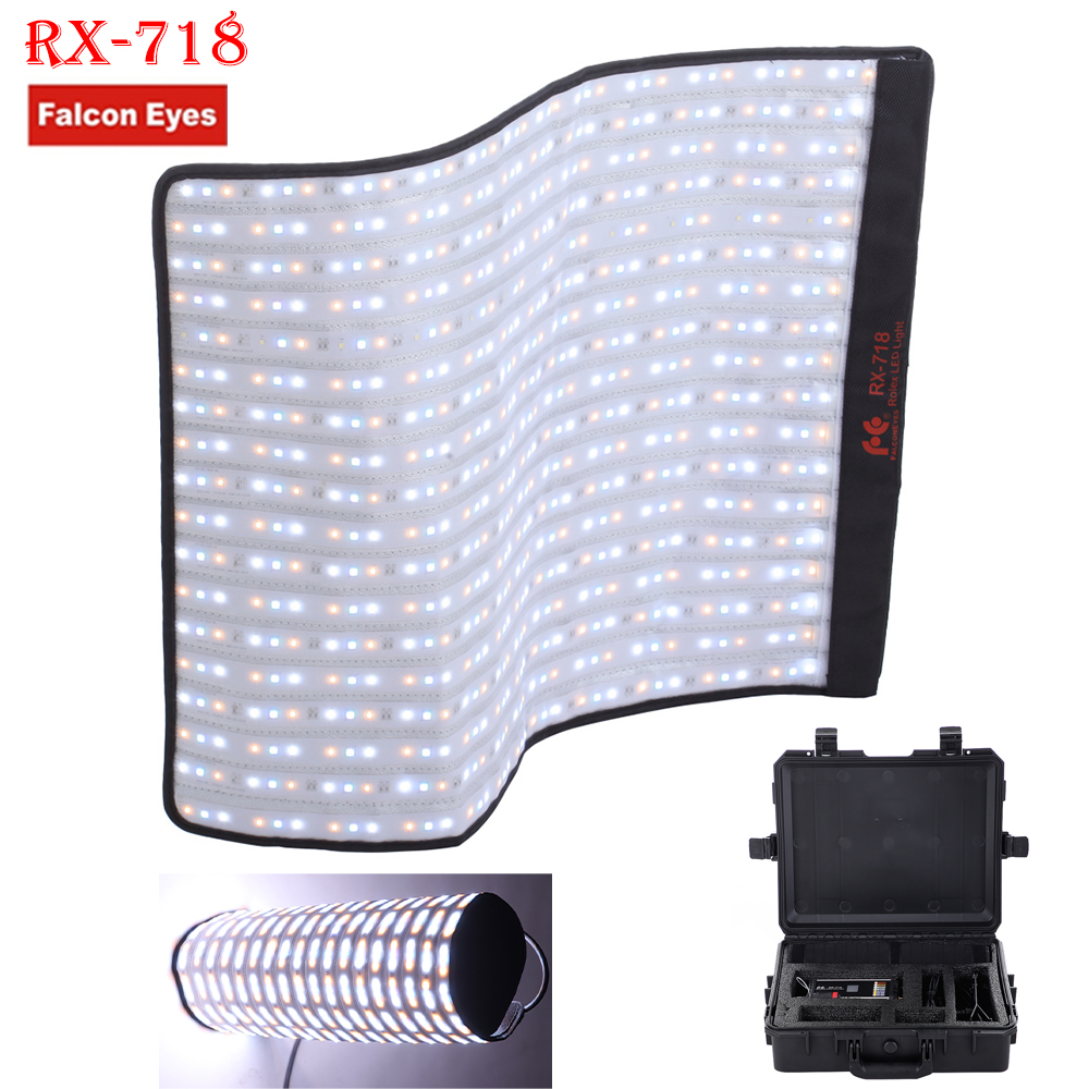 Falconeyes Roll-Flex Série RX-718 100 W RGB 2700-9999 K LED Portátil Photo Light com DMX 648 pcs Flexível Fotografia Caixa de Segurança