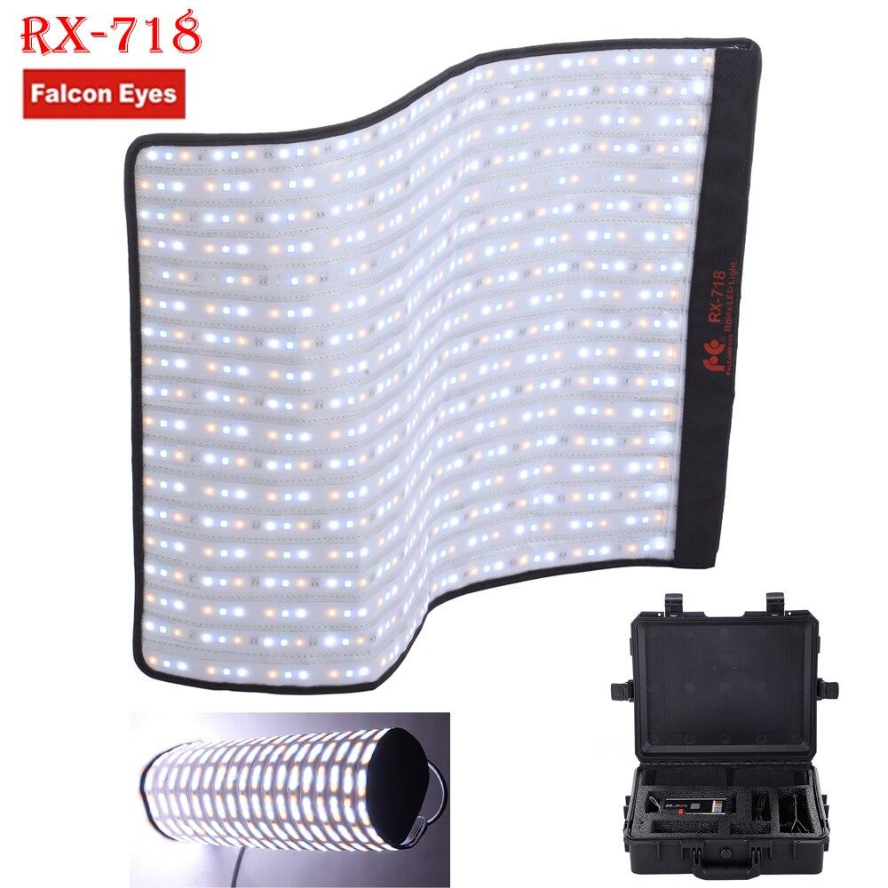 Serie Falconeyes Roll-Flex RX-718 100 W RGB 2700-9999 K Portatile Photo LED Luce con DMX 648 pz Flessibile Fotografia Cassetta Di Sicurezza