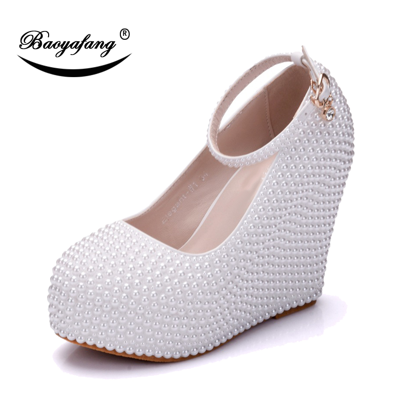 BaoYaFang 2018 New White Pearl Beads shoe High heels Wedges Wedding shoes for woman Ladies Party shoe ankle strap shoes and bags sorbern white beading ankle strap cute flowers wedding shoes med heels bridal shoes wholesale women shoes party and evening shoe