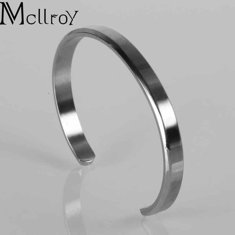 Mcllroy Cuff Bracelets Bangles Men Women Stainless Steel Gold Bangle Love Viking Unisex Pulseras Luxury Fashion Jewelry 2019
