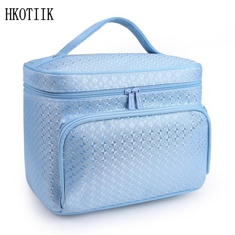 Mode diamant treillis grand sac cosmétique dames étanche professionnel produits de bain à laver nécessités agence de voyage cosmétique