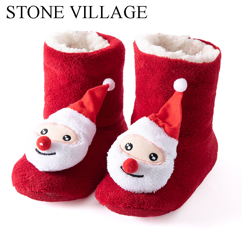 Kids Girls Boys Christmas Snowflake Slipper Shoes Critter Kids Bootie Slipper Winter House Boot Socks 2-7 Year Old