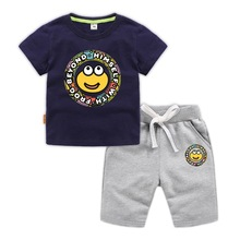 Cotton sweat-absorbent boys T-shirt casual shorts two-piece suit childrens loose breathable half sleeve 2019 summer new
