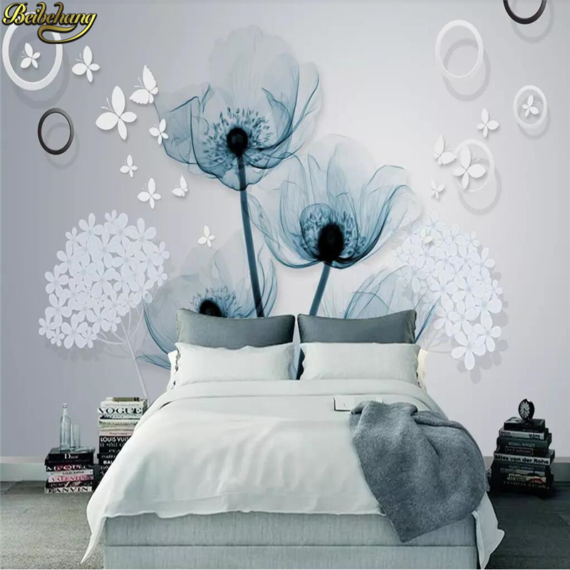 Beibehang Custom Simple European Mural Wallpaper Flowers Photo Painting Living Room TV Sofa Background 3D Wall Paper Home Decor