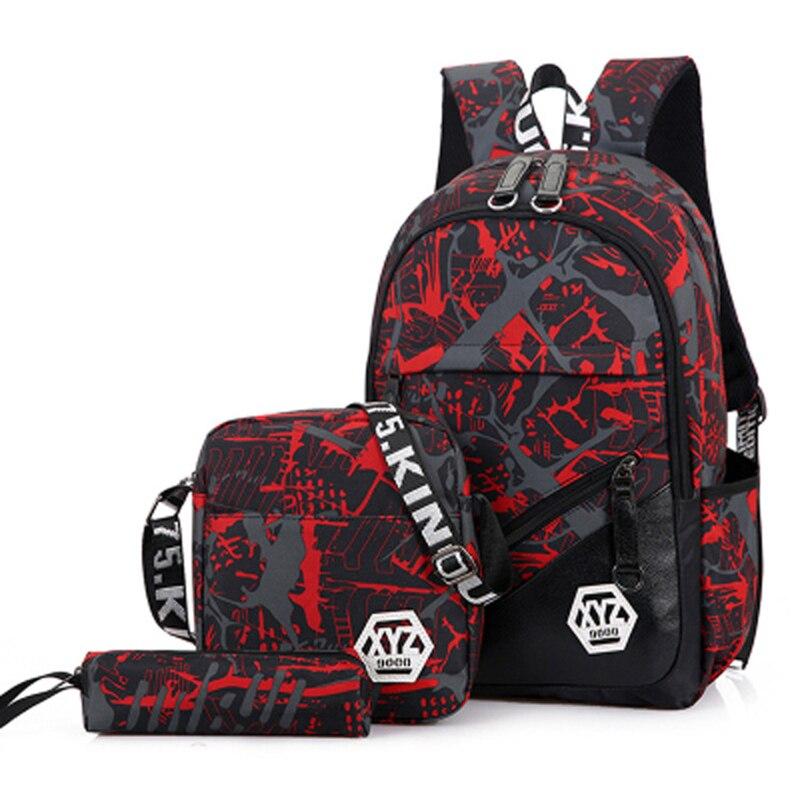 fe188f26ca0b 2018 Для мужчин туристические рюкзаки с камуфляжным принтом школьная сумка  рюкзак Холст ранцы для мальчиков-подростков студенты м.