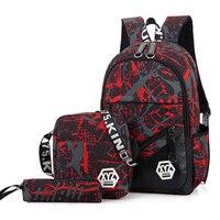 3pcs/Sets 2018 Men Travel Backpacks Camouflage Printing School Bag Backpack Canvas Schoolbags for Teenage Boys Students Bag back