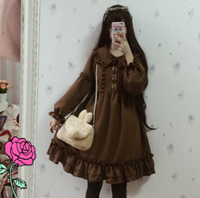 Hazelnut Latte Cute Women's Lolita Dress Vintage Bows Thick Chiffon Ruffled Turned Down Collar Dolly Dress One Piece(China)