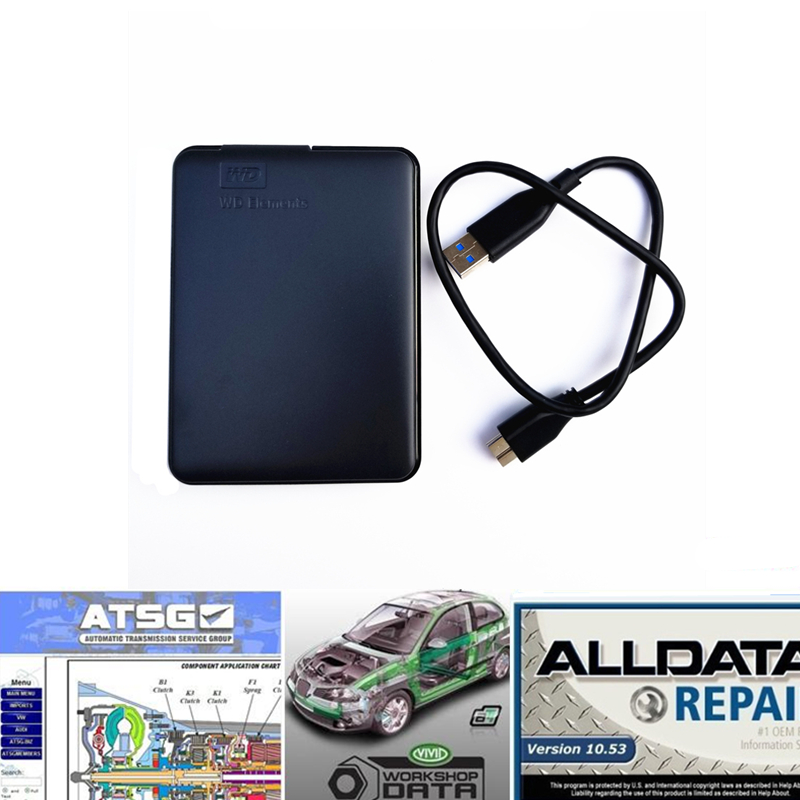 2019 Alldata Auto Repair Software All Data V10.53 Atsg Vivid Workshop With Tech Support For Cars And Trucks USB 3.0 With 750gb