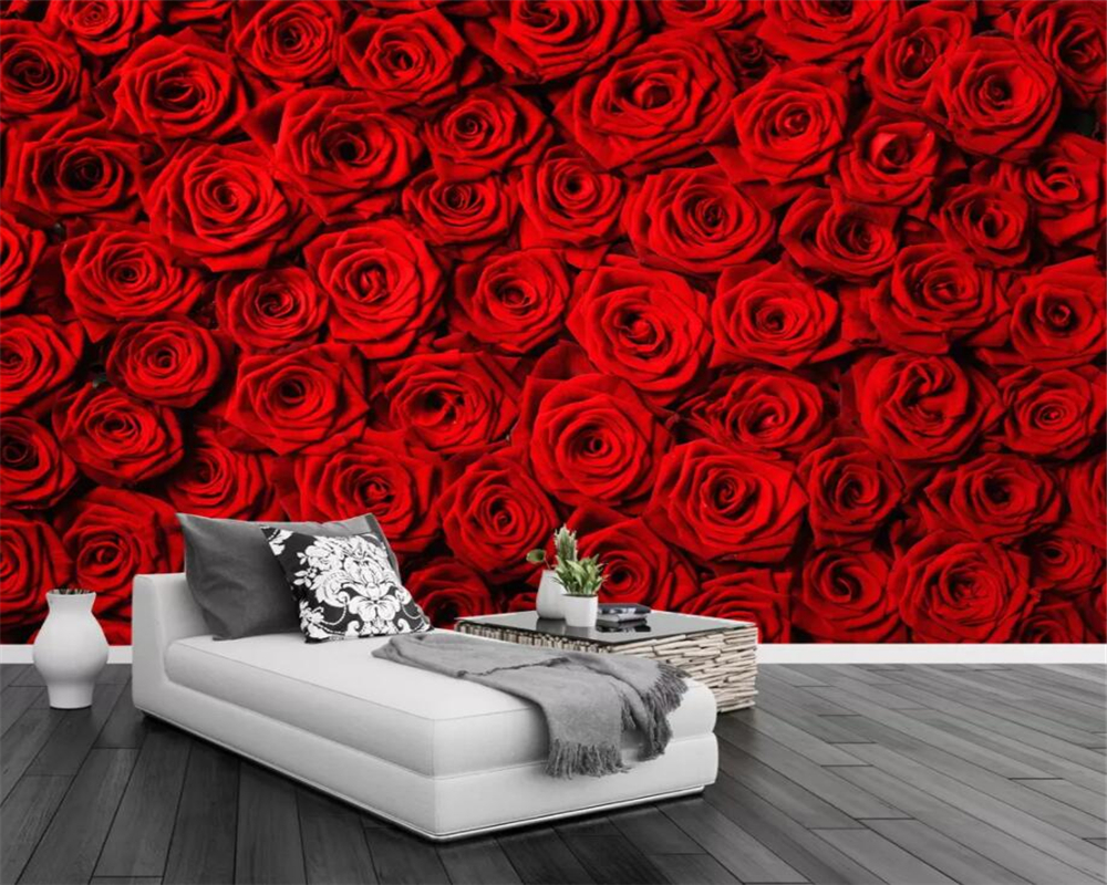 Beibehang Custom Wallpaper Red Rose Wall TV Background Wall Home Decoration Living Room Sofa Background Wall Murals 3d Wallpaper
