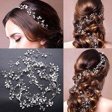 ФОТО 2017 new arrival handmade alloy wired rhinestones crystals pearls flower leaf wedding headband bridal hair vine hair accessories