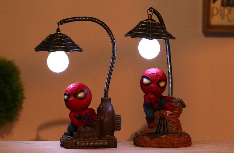 Cartoon Avengers Action Figures Spider Man Night Lamp Resin Children Bedroom LED Night Light for Boy Kids Xmas Creative Gift (10)