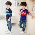 Modelos de primavera de niños británicos baby boy suéter de cuello redondo de manga larga camisa de punto cabeza de la manga