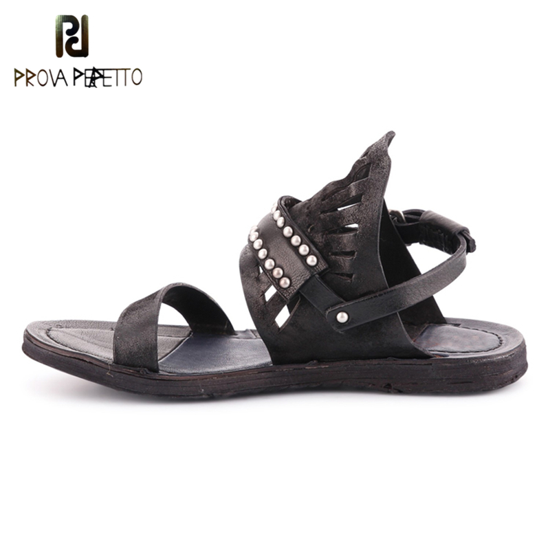 Prova perfetto New Arrive Summer Fashion Genuine Leather Flat Sandals Shoes Women Hollow Out Rivets Beach Rome Retro Sandals