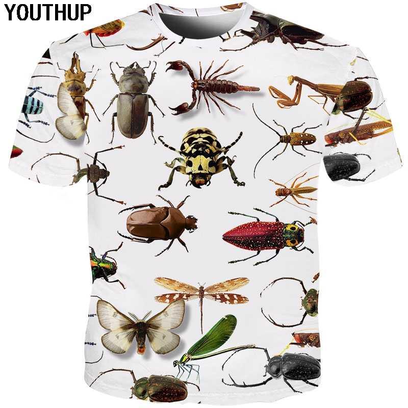YOUTHUP 2019 новые мужские 3d футболки с принтом насекомых О-образным вырезом с коротким рукавом 3d футболки забавная крутая футболка мужские футболки Плюс Размер Уличная
